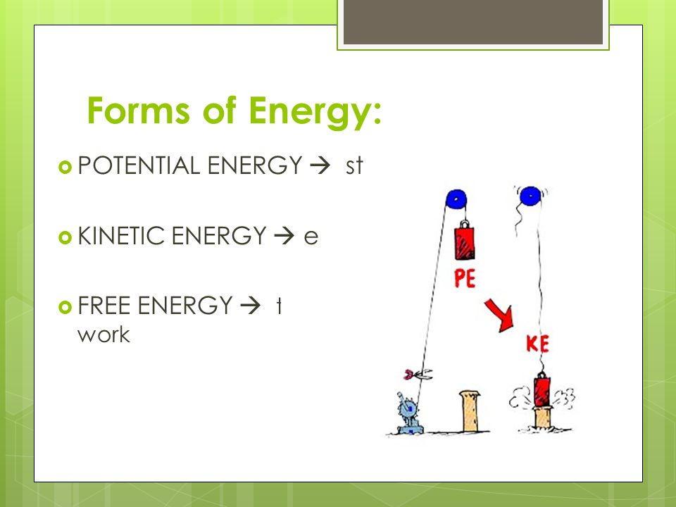 Forms of Energy: POTENTIAL ENERGY  stored energy