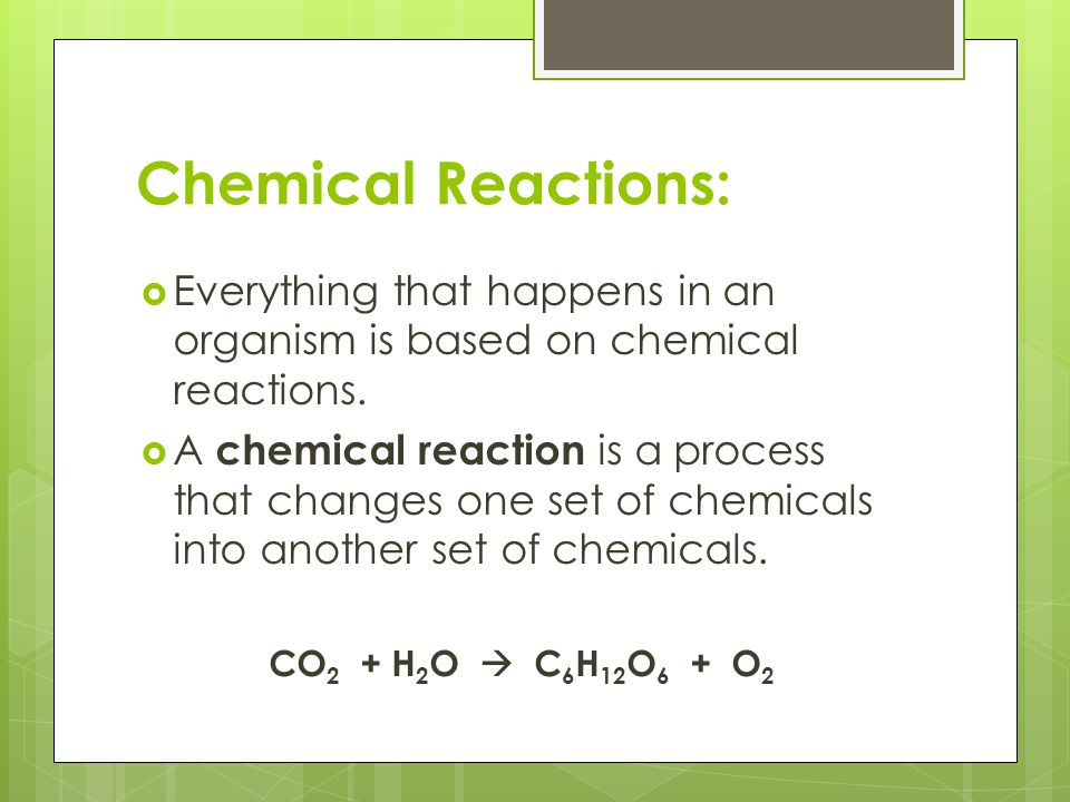 Chemical Reactions: Everything that happens in an organism is based on chemical reactions.