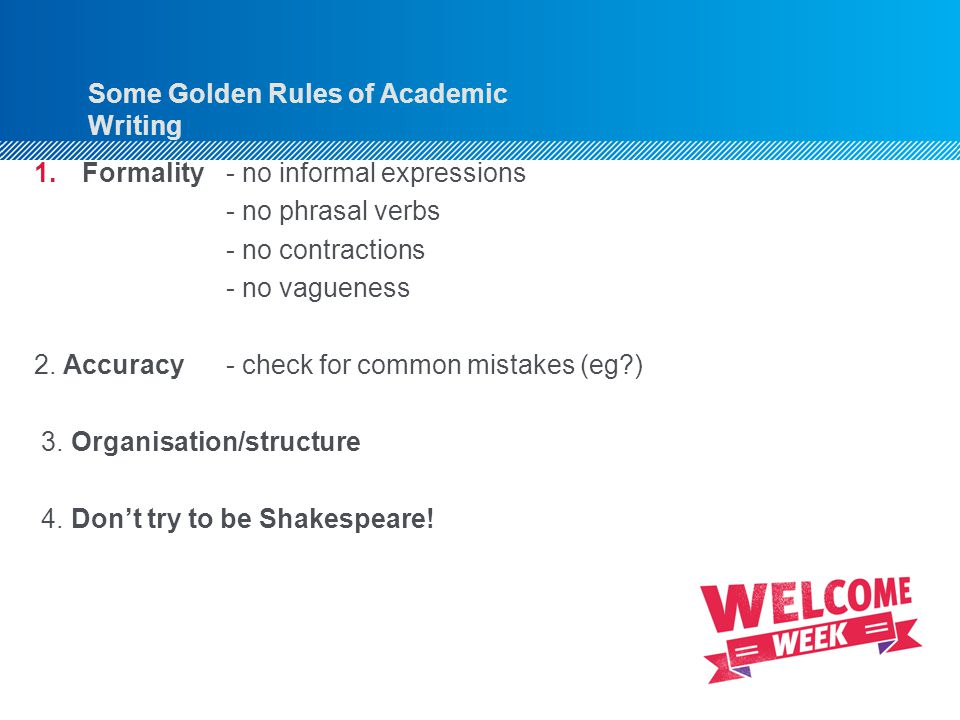 Some Golden Rules of Academic Writing