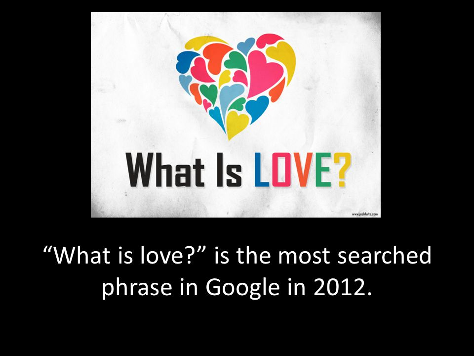 What is love is the most searched phrase in Google in 2012.