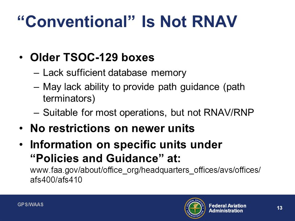 Conventional Is Not RNAV