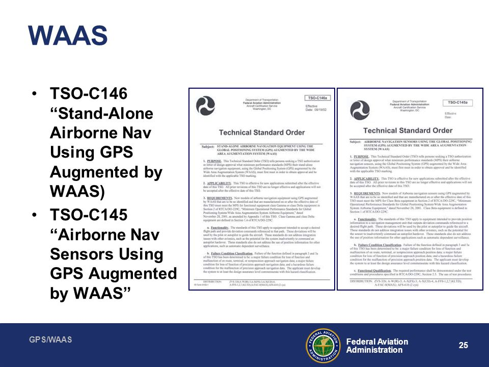 WAAS TSO-C146 Stand-Alone Airborne Nav Using GPS Augmented by WAAS)