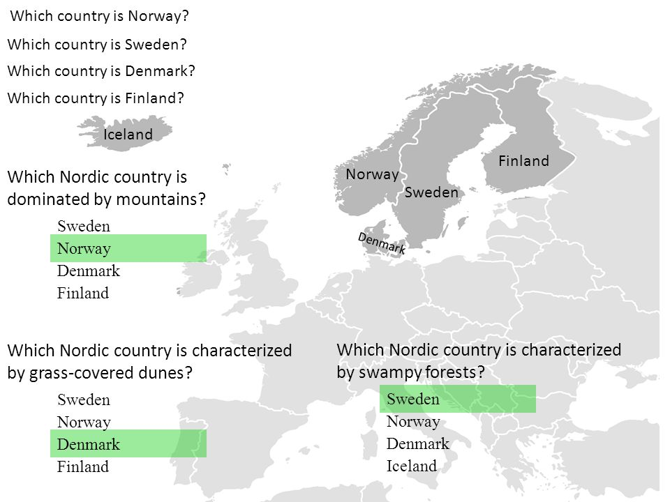 Which Nordic country is dominated by mountains