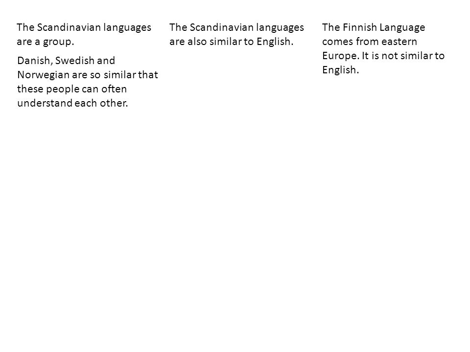 The Scandinavian languages are a group.