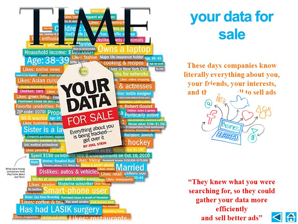 your data for sale These days companies know literally everything about you, your friends, your interests, and they use it all to sell ads.