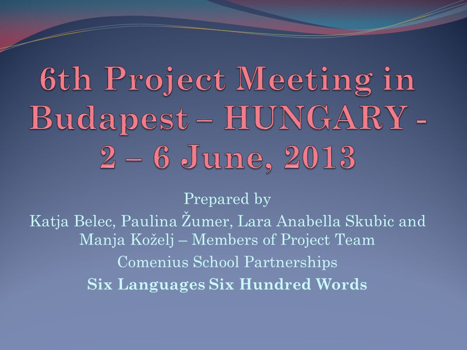 6th Project Meeting in Budapest – HUNGARY - 2 – 6 June, 2013