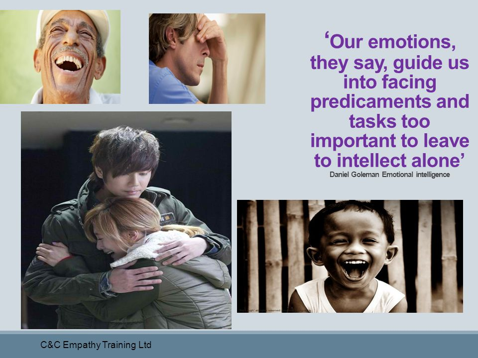 'Our emotions, they say, guide us into facing predicaments and tasks too important to leave to intellect alone' Daniel Goleman Emotional intelligence