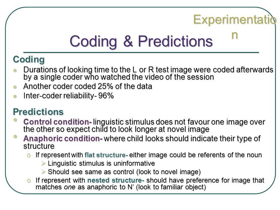 Coding & Predictions Experimentation Coding Predictions