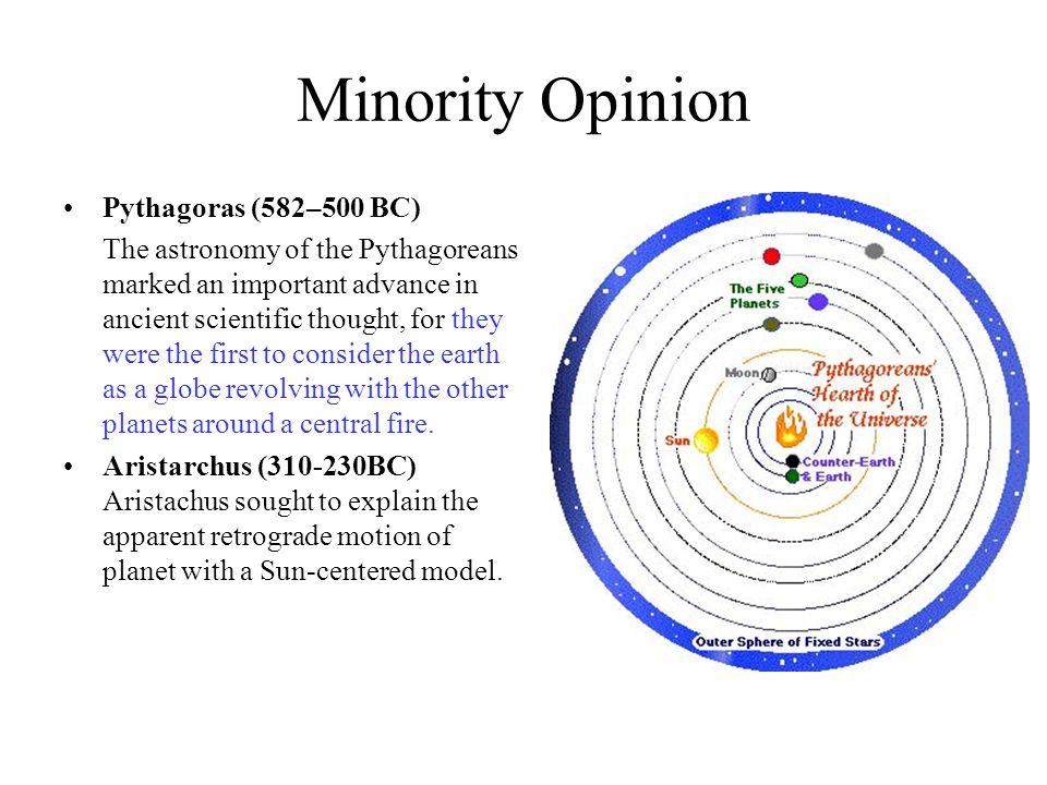 Minority Opinion Pythagoras (582–500 BC)