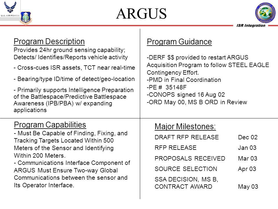 ARGUS Program Description Program Guidance Program Capabilities