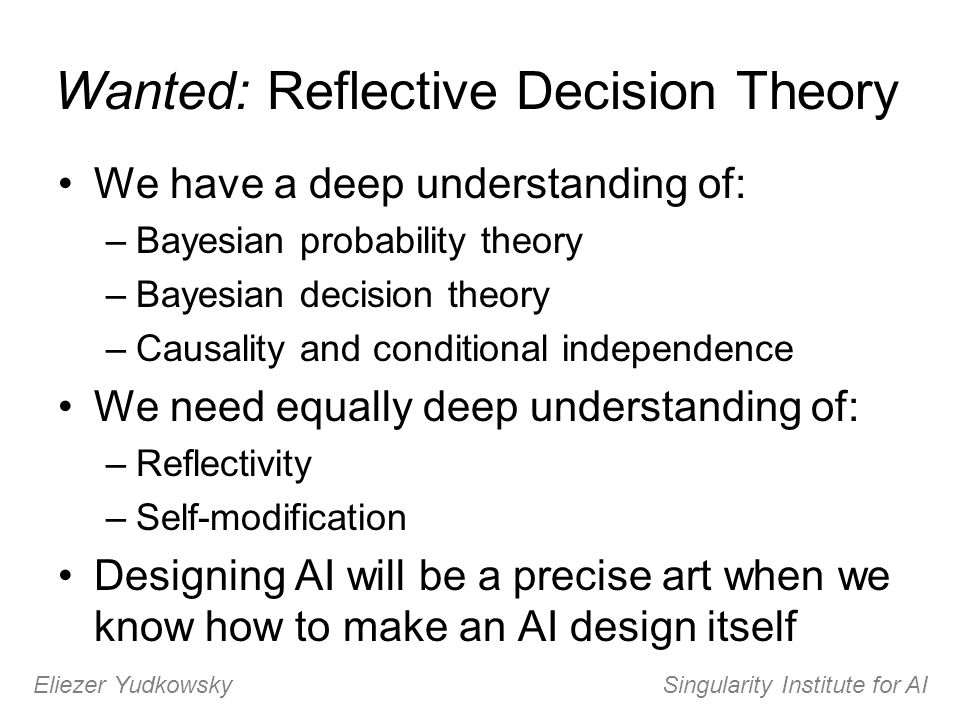 Wanted: Reflective Decision Theory