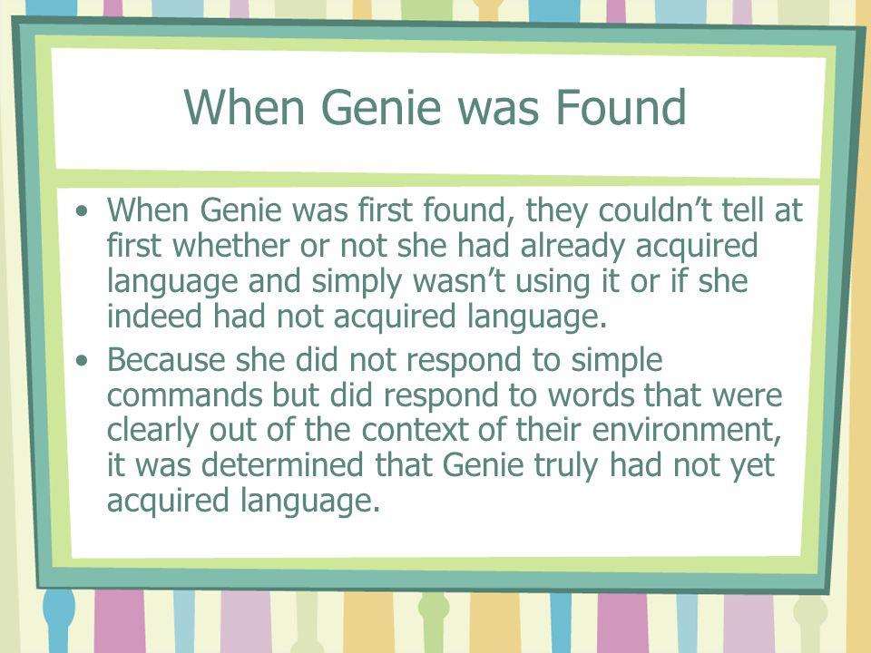 When Genie was Found