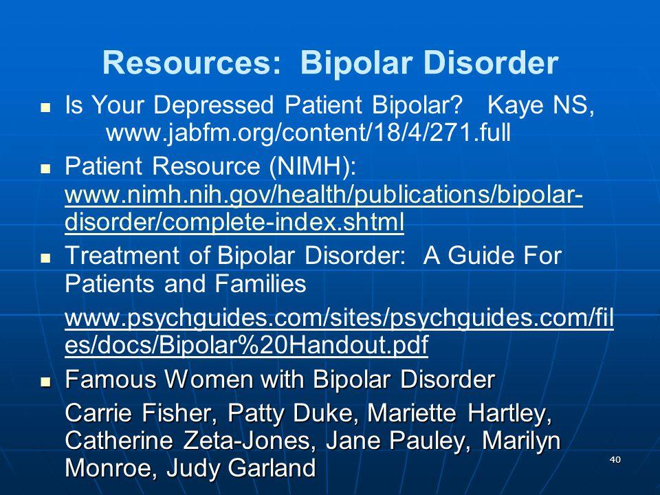 Resources: Bipolar Disorder
