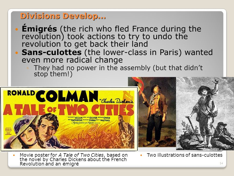 Divisions Develop… Émigrés (the rich who fled France during the revolution) took actions to try to undo the revolution to get back their land.