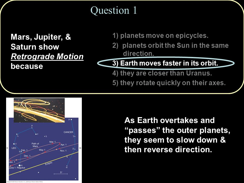 Question 1 Mars, Jupiter, & Saturn show Retrograde Motion because