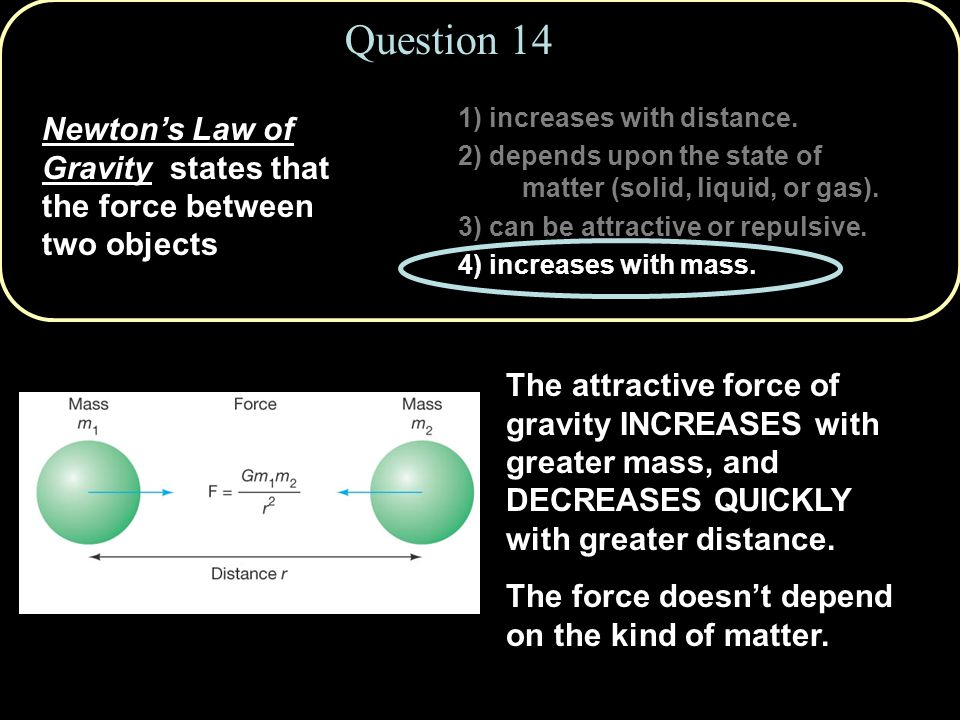 Question 14 1) increases with distance. 2) depends upon the state of matter (solid, liquid, or gas).