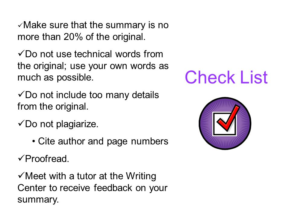 Make sure that the summary is no more than 20% of the original.