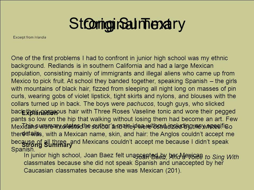 Strong Summary Original Text