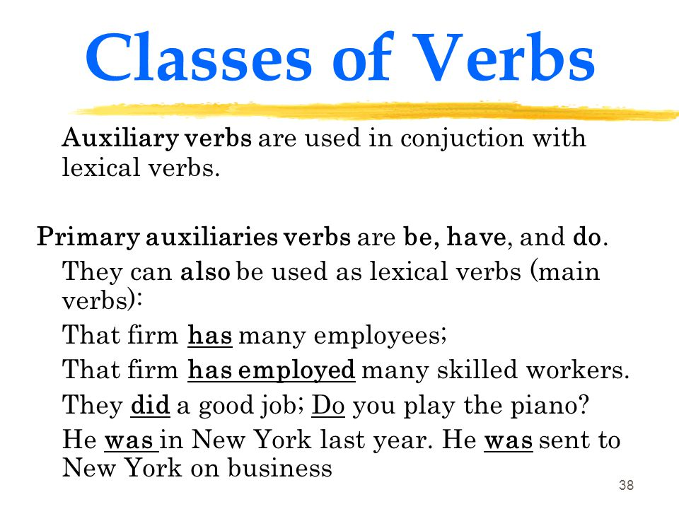 Classes of Verbs Auxiliary verbs are used in conjuction with lexical verbs. Primary auxiliaries verbs are be, have, and do.