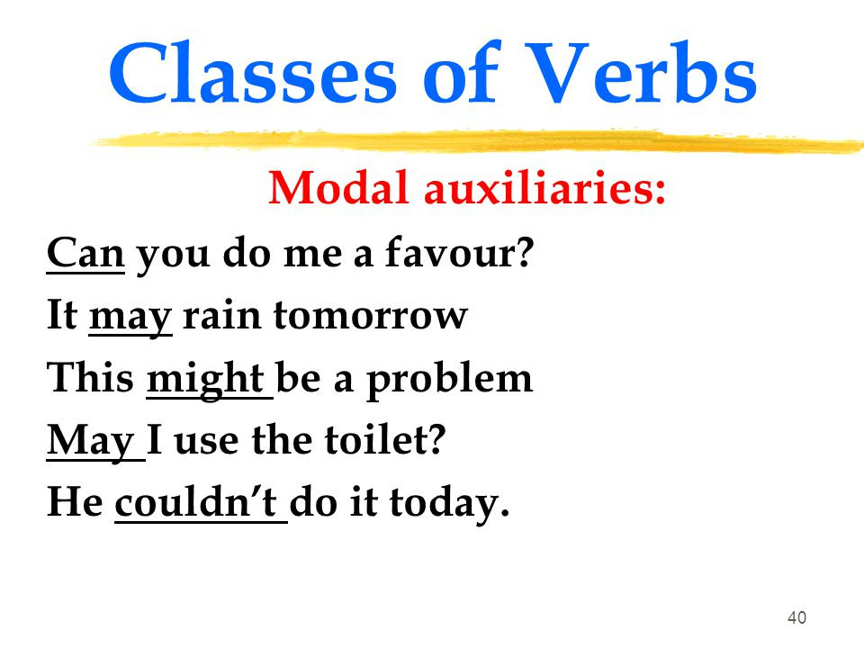 Classes of Verbs Modal auxiliaries: Can you do me a favour