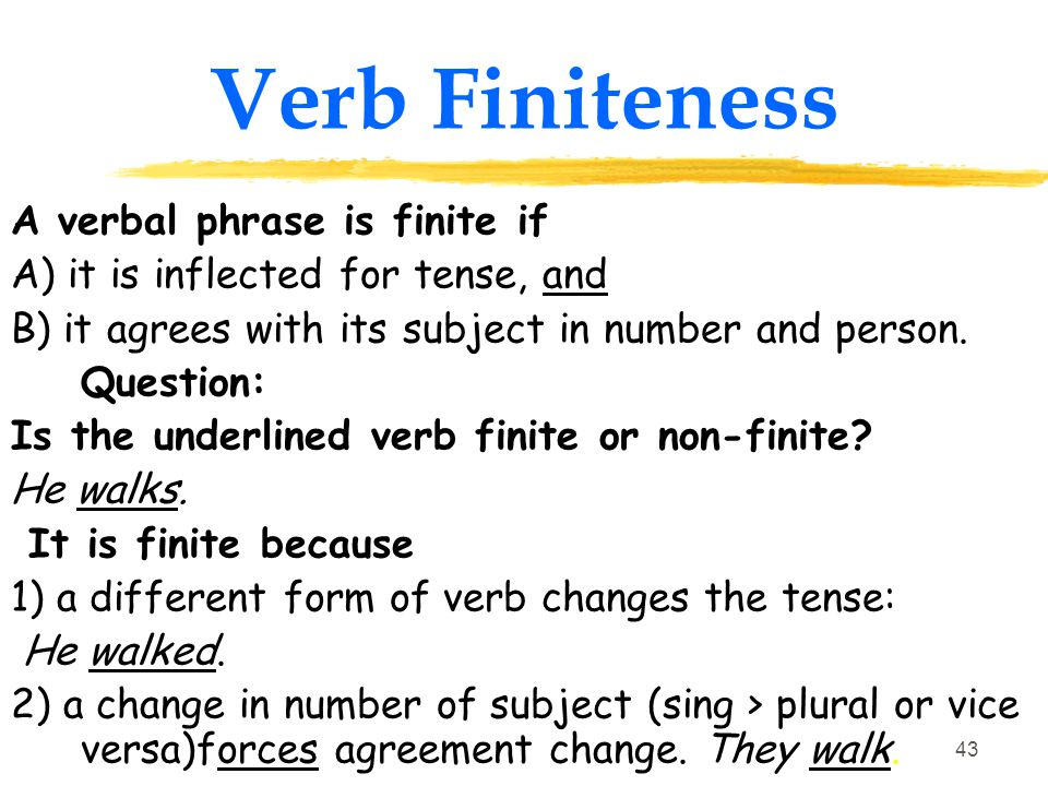 Verb Finiteness A verbal phrase is finite if