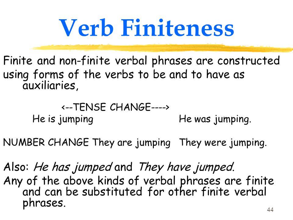 Verb Finiteness Finite and non-finite verbal phrases are constructed