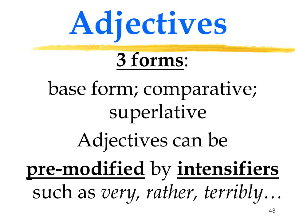 Adjectives 3 forms: base form; comparative; superlative