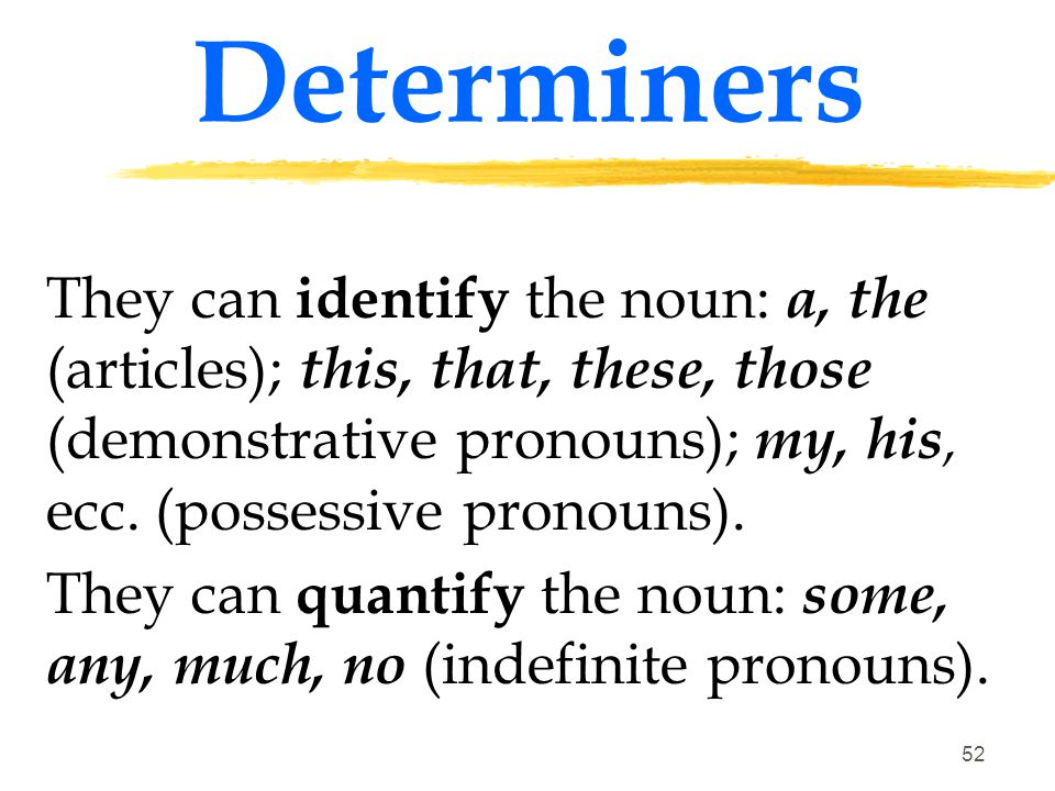 Determiners They can identify the noun: a, the (articles); this, that, these, those (demonstrative pronouns); my, his, ecc. (possessive pronouns).