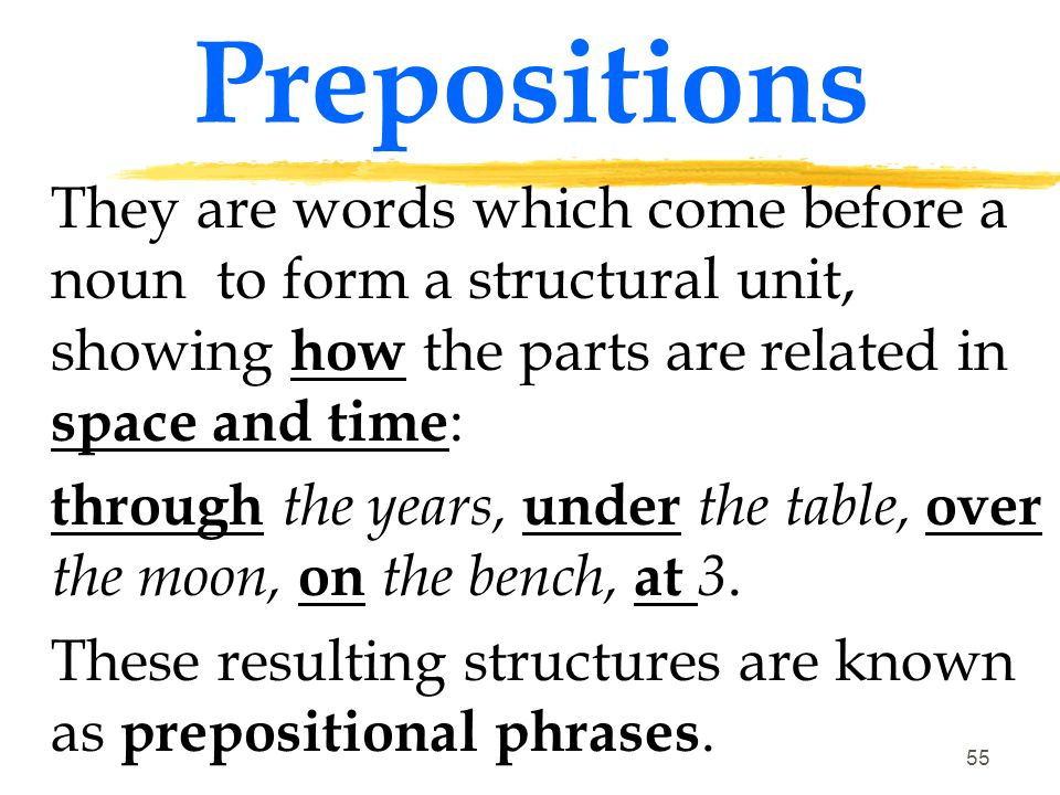 Prepositions They are words which come before a noun to form a structural unit, showing how the parts are related in space and time: