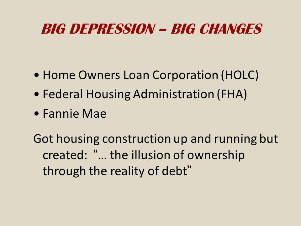 BIG DEPRESSION – BIG CHANGES