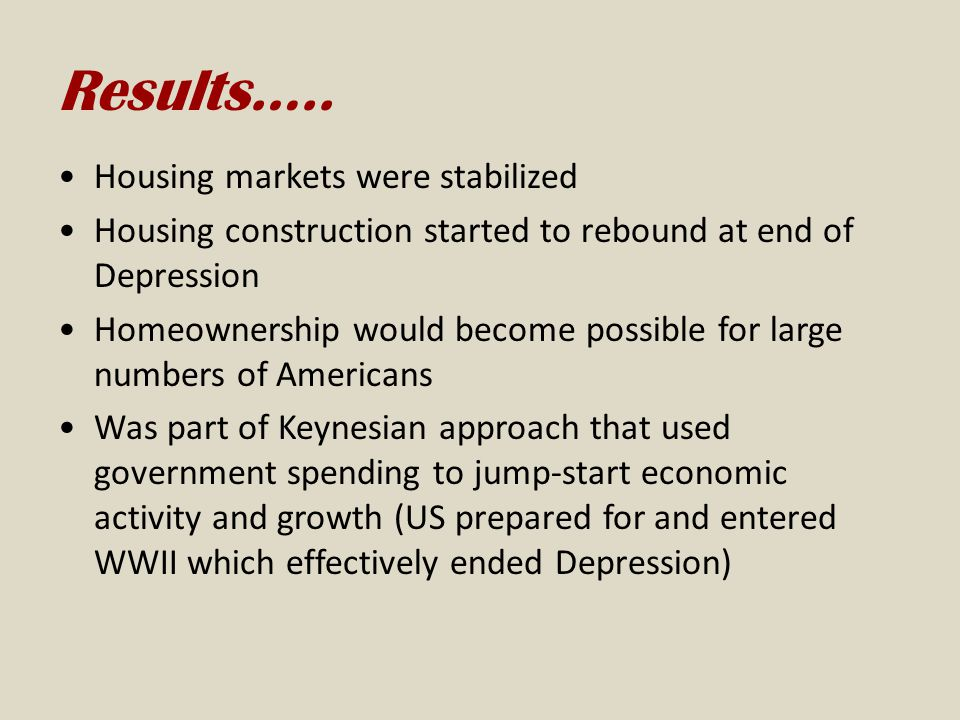 Results….. Housing markets were stabilized
