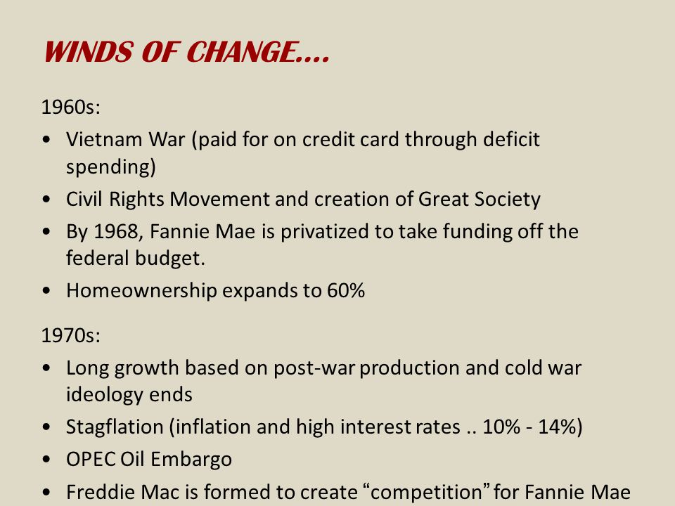 WINDS OF CHANGE…. 1960s: Vietnam War (paid for on credit card through deficit spending) Civil Rights Movement and creation of Great Society.