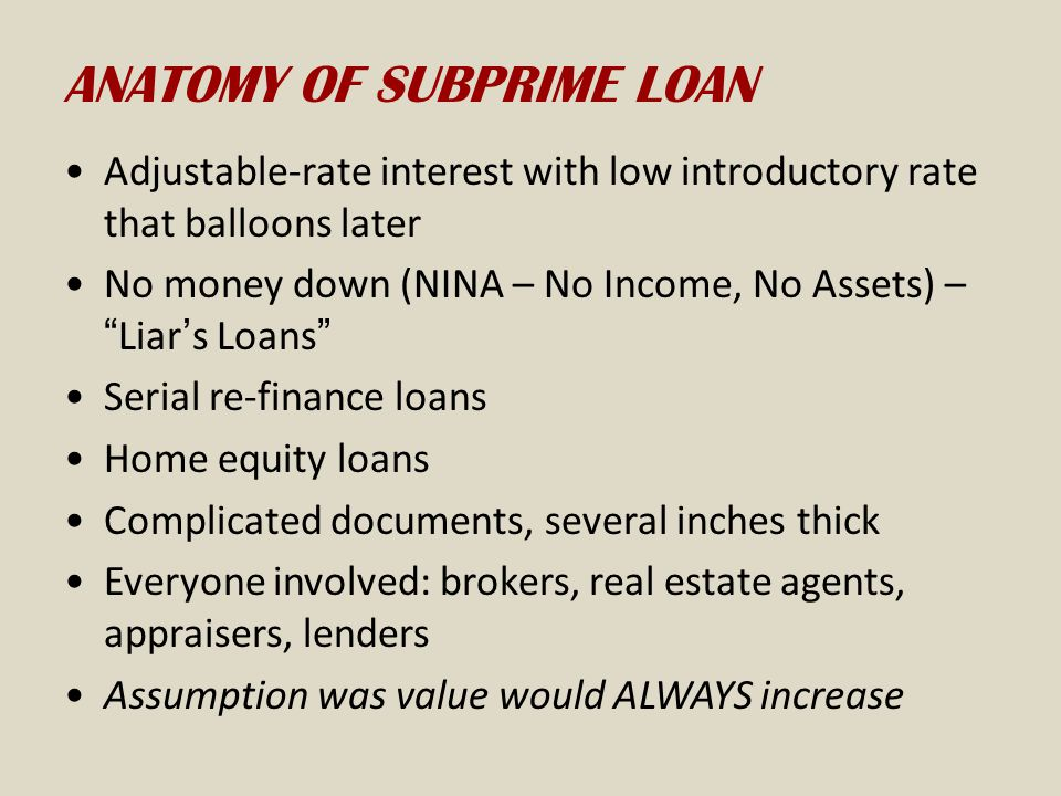 ANATOMY OF SUBPRIME LOAN