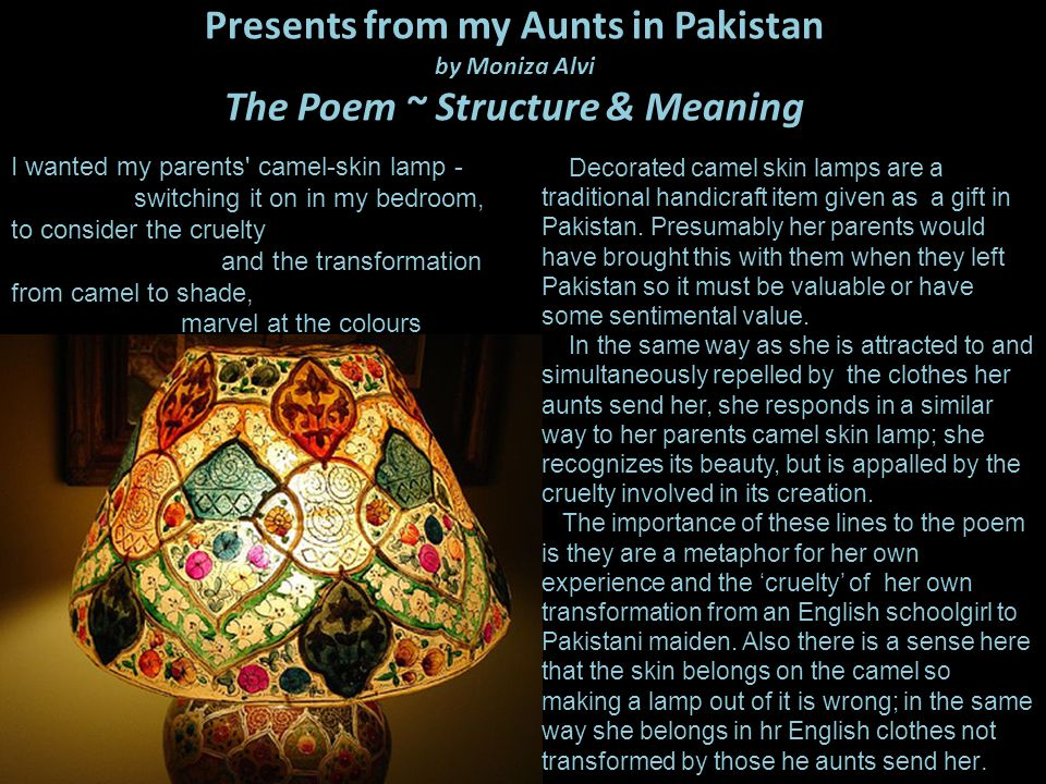 east is east and poems presents from my aunts in pakistan essay Write my essay now main menu  i think east is east presents quite a negative view of multicultural britain  george knew lennie from his aunt clara  george .