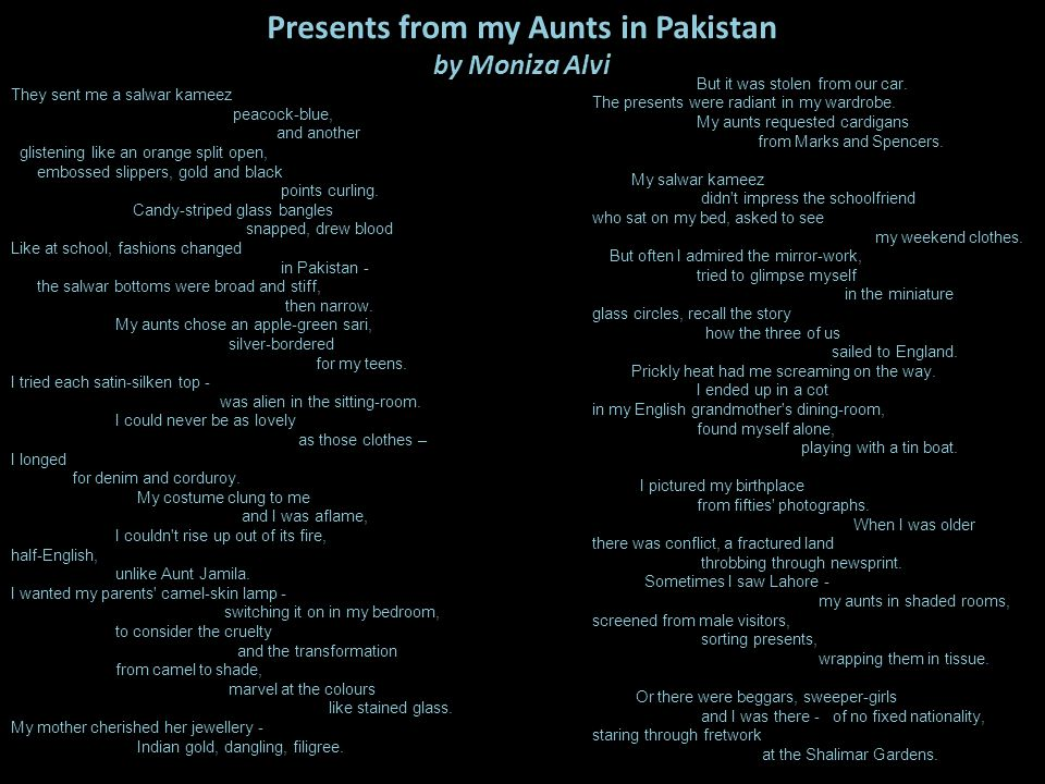Presents from my Aunts in Pakistan by Moniza Alvi