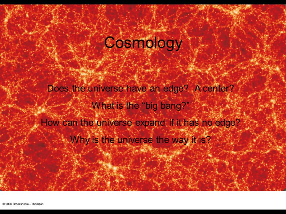 Cosmology Does the universe have an edge A center