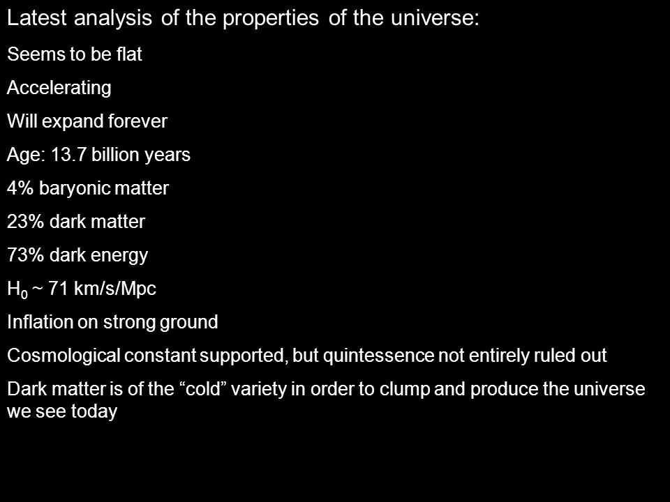 Latest analysis of the properties of the universe: