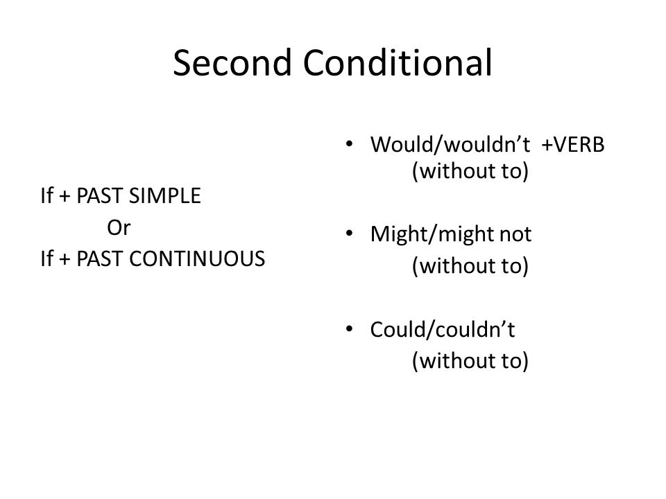 Second Conditional Would/wouldn't +VERB (without to)