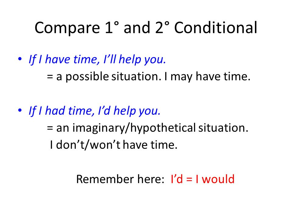Compare 1° and 2° Conditional