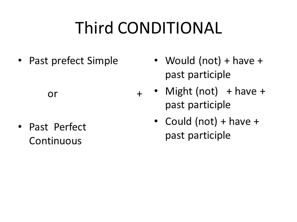 Third CONDITIONAL Past prefect Simple or + Past Perfect Continuous