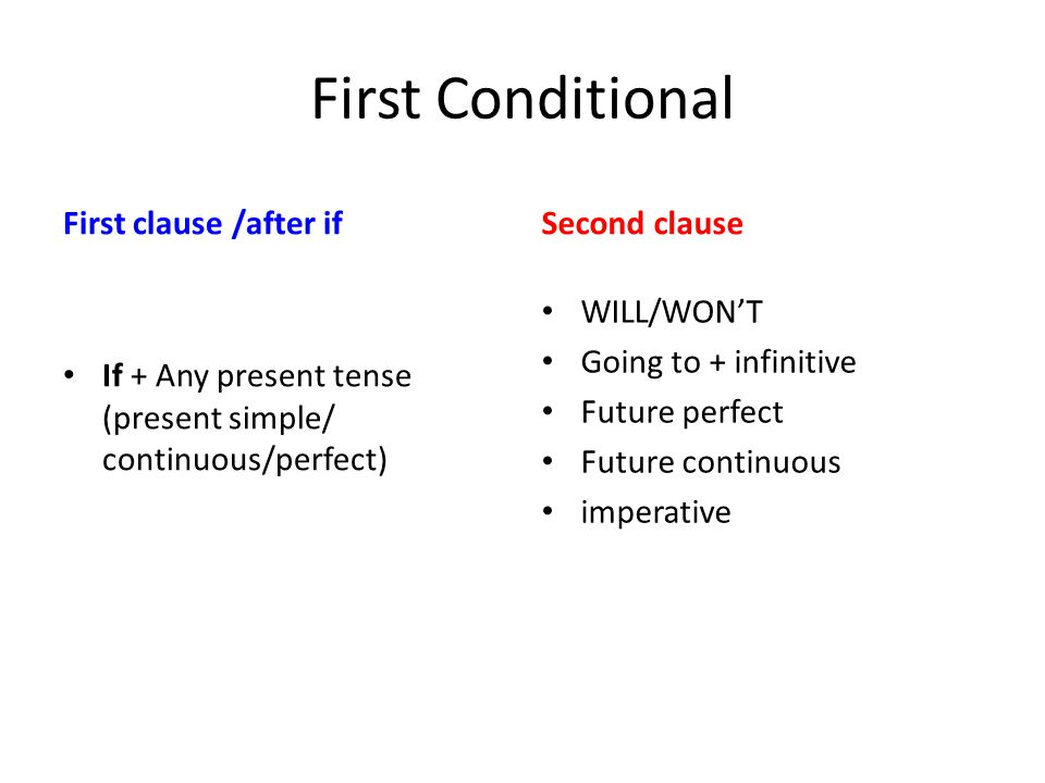 First Conditional First clause /after if Second clause