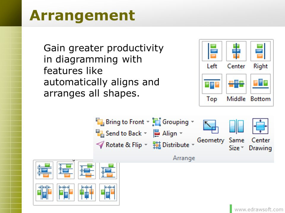 Arrangement Gain greater productivity in diagramming with features like automatically aligns and arranges all shapes.