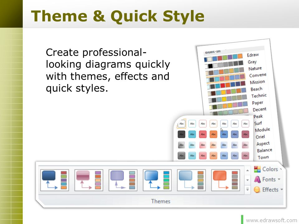 Theme & Quick Style Create professional-looking diagrams quickly with themes, effects and quick styles.
