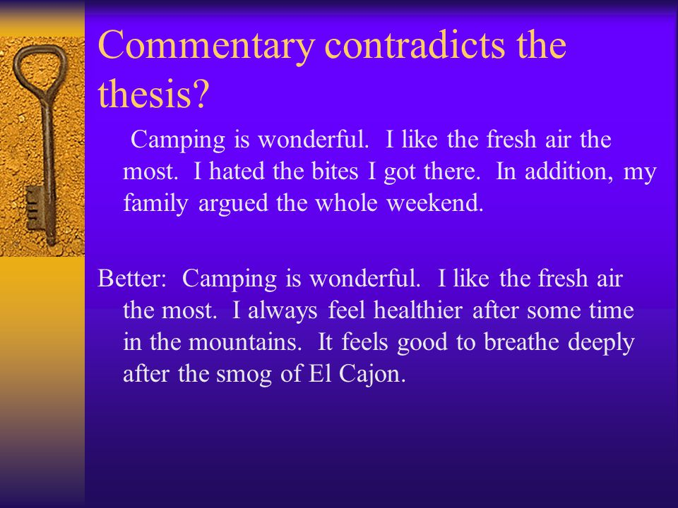 Commentary contradicts the thesis