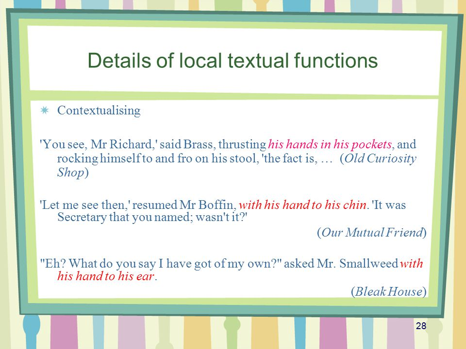 Details of local textual functions