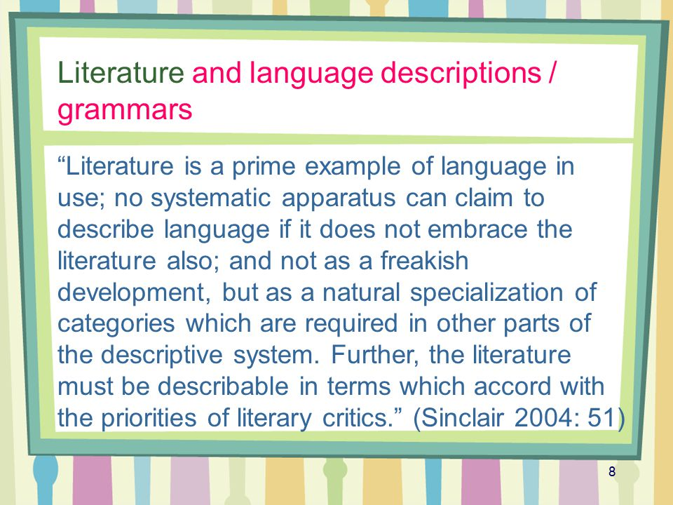 Literature and language descriptions / grammars