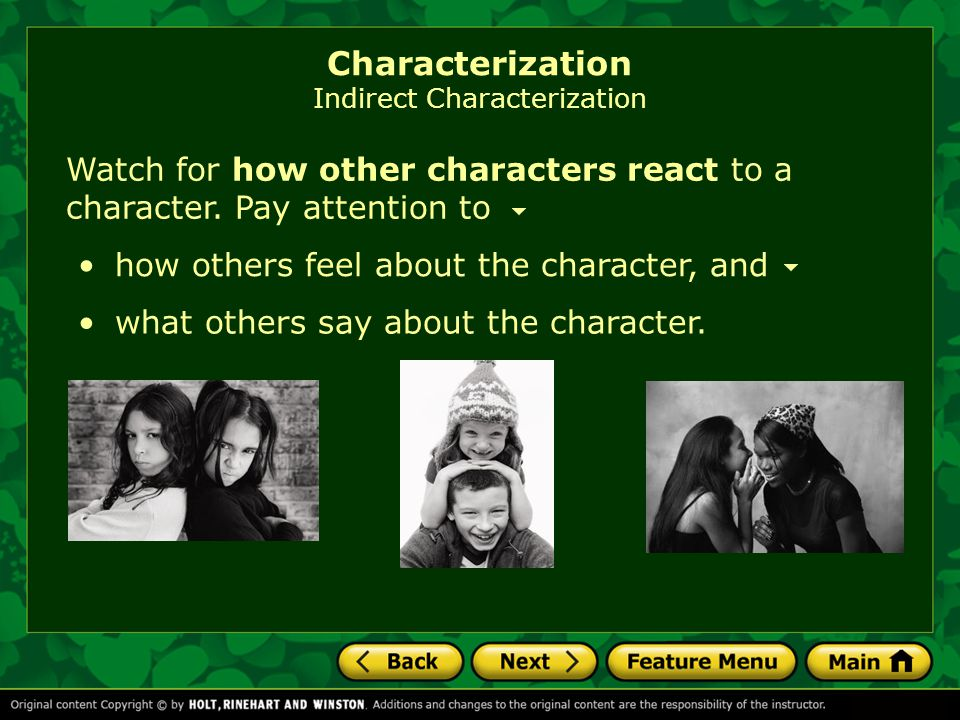 Characterization Indirect Characterization