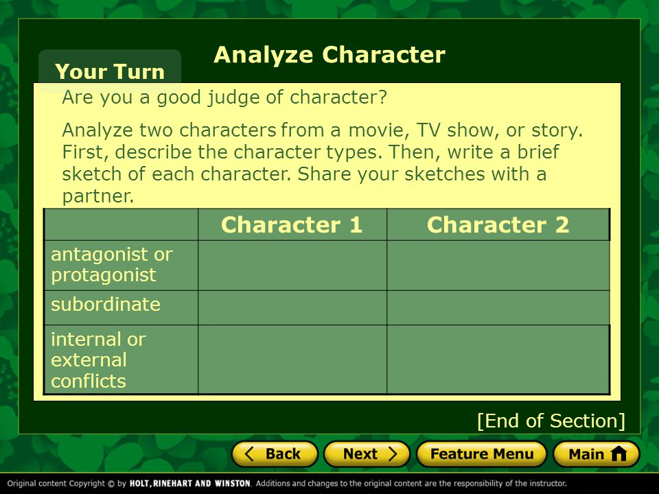 Analyze Character Character 1 Character 2 Your Turn