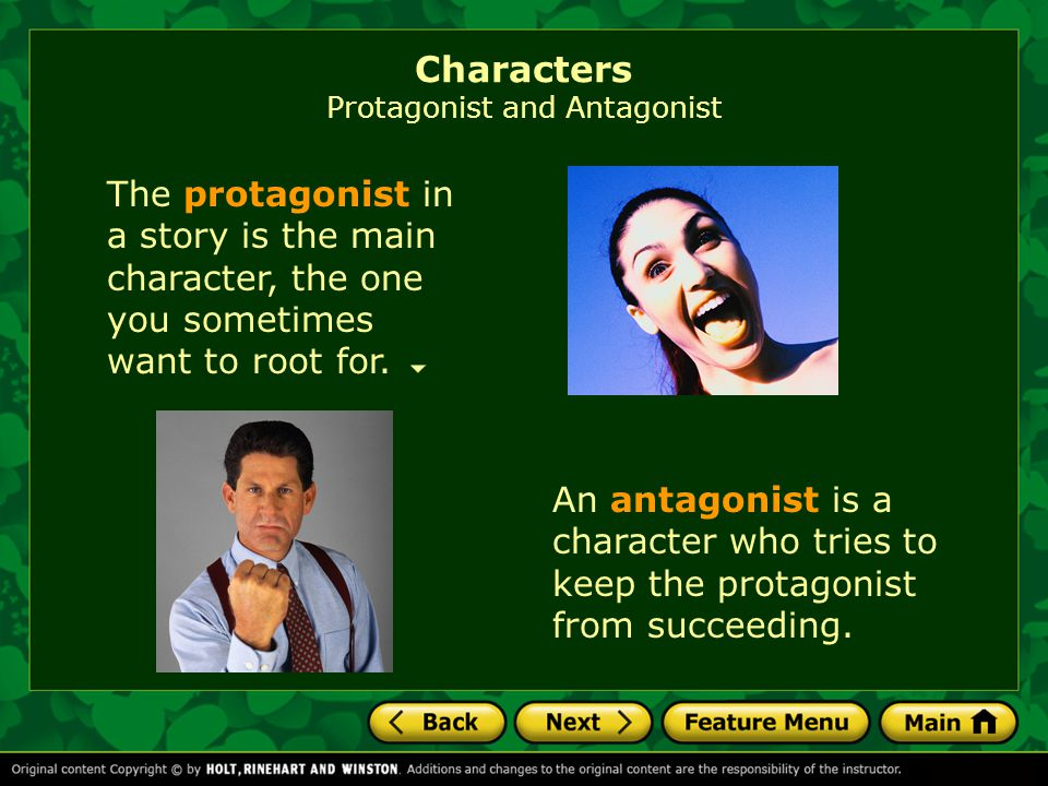Characters Protagonist and Antagonist