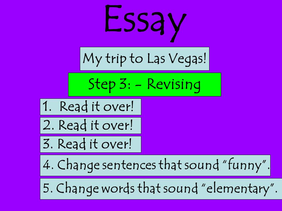 Essay Step 3: - Revising My trip to Las Vegas! 1. Read it over!